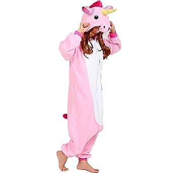 QUMAO Pijama Animal Unicornio Entero para Adultos Pijama Mono Animal para Mujer Hombre Disfraz para Navidad con Capucha Invierno Franela