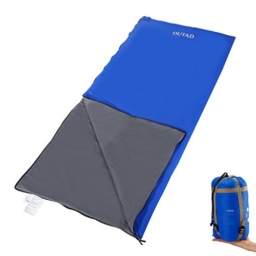Envelope Sleeping Bag-Lightweight Portable,Waterproof ,Comfort With Compression Sack -Perfect for four Seasons Traveling,Camping ,Biking ,Hiking & Outdoor Activities (L blue) (Cycling Sleeping Bag)