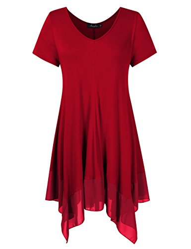 AMZ PLUS Womens Plus Size Short Sleeve Spliced Asymmetrical Tunic Top Burgundy 3XL