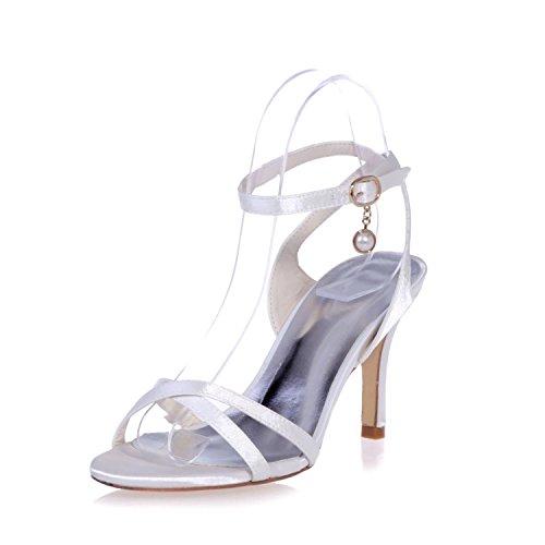 L@YC 9920-02 Sandalias De TacóN alto Para Mujer Colgante SatéN / Fiesta Y Noche Zapatos De Boda Peep Toe Night & / Platform Patent White