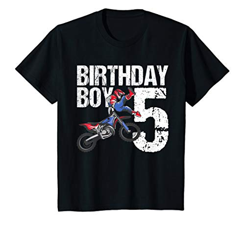 Kids 5 Year Old Dirt Bike Birthday Party Motocross MX 5th Gift T-Shirt