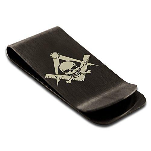 (Matte Black Stainless Steel Freemasons Masonic Skull & Crossbones Symbol Money Clip Credit Card Holder)