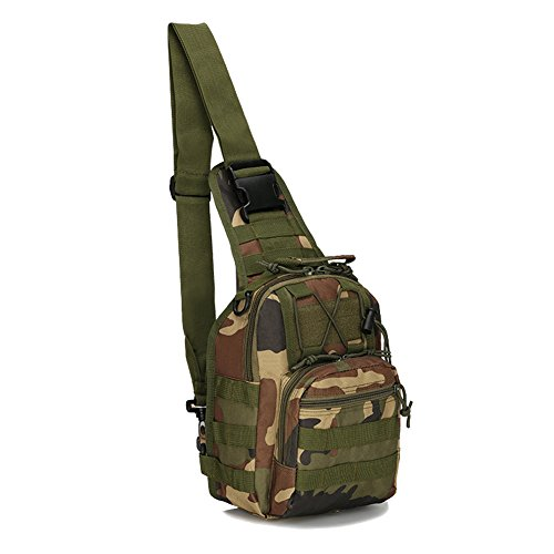 Aiyer Tactical Sling Backpack Military Molle Bag Pack for Hunting Hiking Camping Shooting Trekking Outdoor Sport Pack Daypack Chest Bag Travel Shoulder Bags for Men Luggage Day Back Woodland Camo