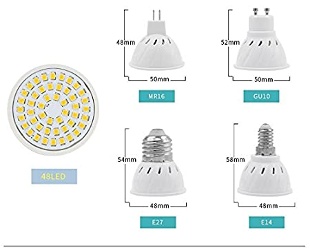 Amazon.com: 10PCS/Lot Lampada Led E27 E14 GU10 MR16 Led Lamp 220V High Bright Bombillas LED Bulb SMD2835 48 60 80LEDs Lampara for Spotlight: Home & Kitchen