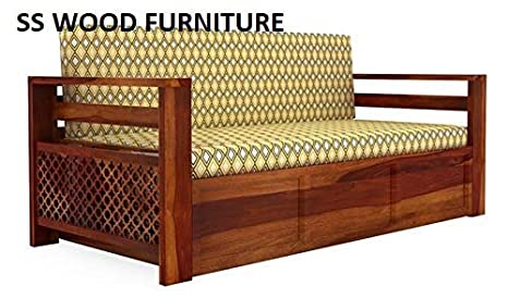 Ss Wood Sheesham Wooden Furniture Sofa Bed With Jali Style In Sides
