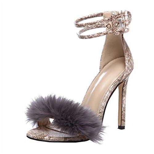 con con Scarpe Donna Alto Donna Col Kword Sandali Sexy Scarpe High Heel Scarpe Elegante 11Cm Khaki Pelliccia Scarpe Scarpe Morbida Tacco Tacco HqYTqzfvw