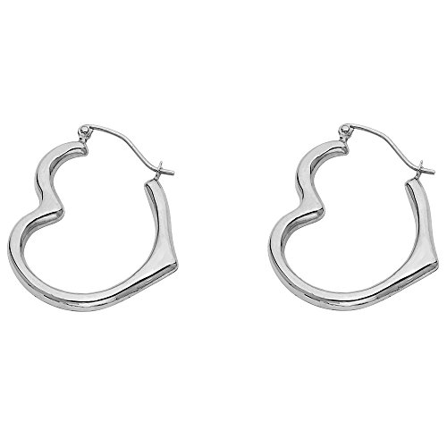14k White Gold Heart Shaped Hoop Earrings (13 x (14k Gold Heart Hoop Earrings)