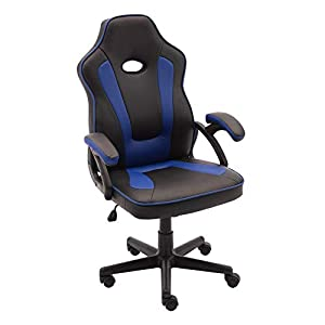 – Chaise de gaming pivotante et réglable en hauteur, ergonomique avec support lombaire, en similicuir