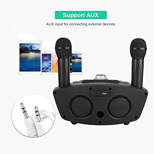 ASHATA Karaoke Machine, Karaoke System with Wireless Bluetooth Speaker and Two Microphone,Home Karaoke Singing Machine KTV Karaoke Speaker Microphone Support AUX,TF Card and USB Flash Drive(Black) by ASHATA (Image #1)