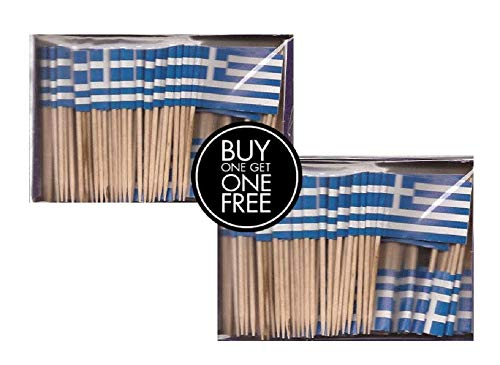 2 Boxes of Mini Greece Toothpick Flags, 200 Small Greek Flag Toothpicks or Cocktail Sticks & Picks