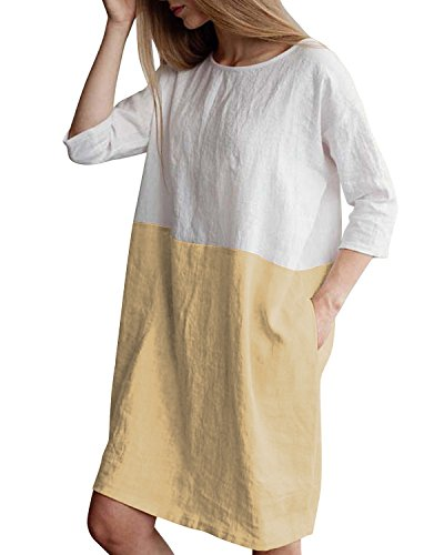 HIUPEB Women's Plus Size 3/4 Sleeve Loose Cotton Linen Top Shirt Dress Beige 2XL