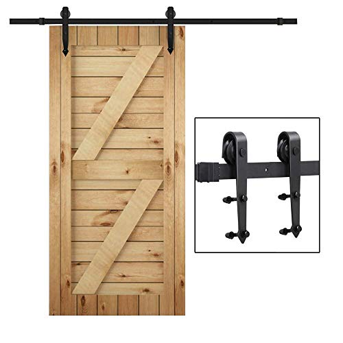 (Yaheetech 6 Ft Interior Black Steel Single Sliding Barn Closet Door Hardware Track System Kit)