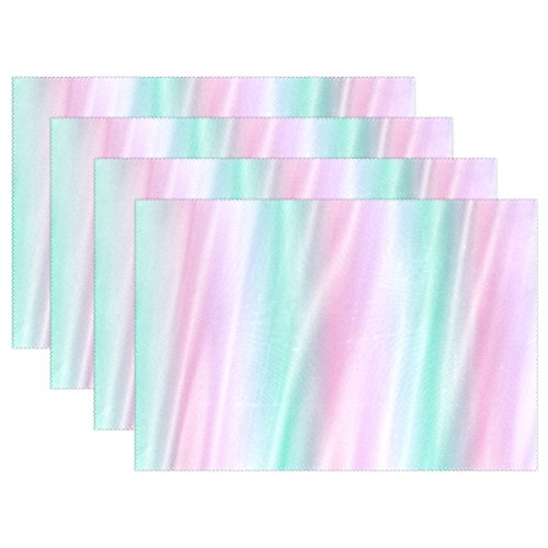 WBSNDB Texture Fabric Silk Blue Pink Placemats Set Of 4 Heat Insulation Stain Resistant For Dining Table Durable Non-slip Kitchen Table Place (Willow Teal Stripe)