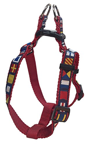 Ribbon Dog Harness - Preston Nautical Code Flag Step In Dog Harness Multi Color Ribbon on Red Nylon Webbing (Small)