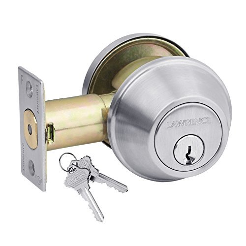 Heavy-Duty Commercial Single Cylinder Hardened Deadbolt Lock, Fire Rated, Exceeds Grade 2 Specifications, Adjustable 2-3/8