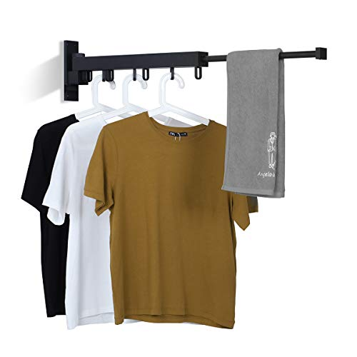 BENOSS Wall Mounted Clothes Hanger Space-Saver, Retractable Garment Laundry Drying Rack, Easy to Install, for Balcony, Laundry, Bathroom and Bedroom (Black-Short)