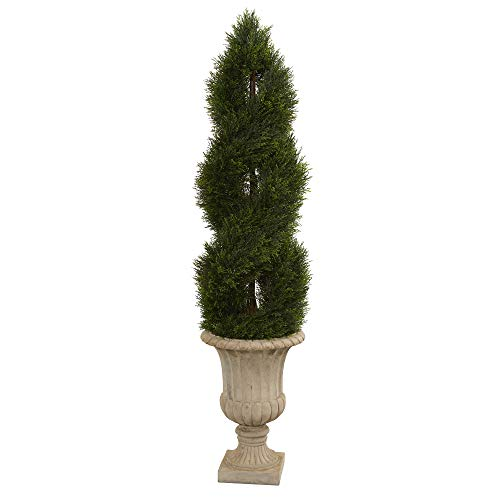 Nearly Natural 5755 5' Double Pond Cypress Artificial Spiral Topiary Urn UV Resistant (Indoor/Outdoor) Silk Trees Green ()