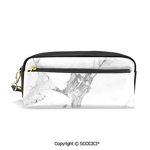 Students PU Pencil Case Pouch Women Purse Wallet Bag Abstract Stained Hazy Pattern Natural Textured Architectural Background Theme Decorative Waterproof Large Capacity Hand Mini Cosmetic Makeup Bag