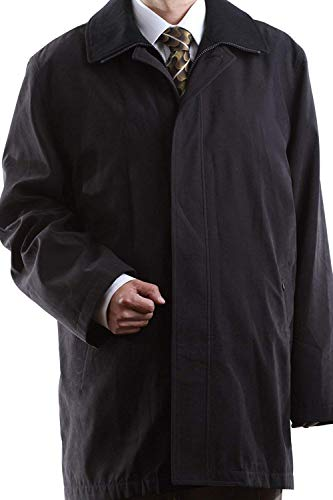 3/4 Length Raincoat - Men's Single Breasted Black 3/4 Length All Year Round Raincoat, Size Short 44