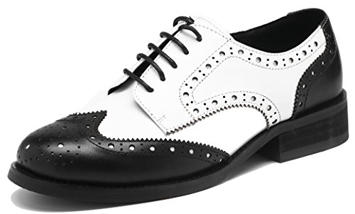 - U-lite Women's Perforated Lace-up Wingtip Leather Flat Oxfords Vintage Oxford Shoes Brogues (9, Black White)