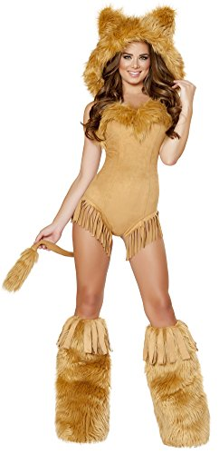 [Vicious Lioness Hooded Romper and Legwarmers Small] (Woman Lioness Costume)