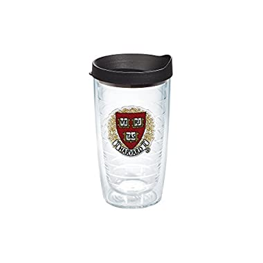 Tervis 1060836 Harvard University Veritas Emblem Individual Tumbler with Black lid, 16 oz, Clear