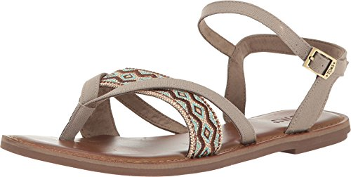 TOMS Women's Lexie Sandal Desert Taupe Canvas/Embroidery Sandal - Toms Shoes Size 11