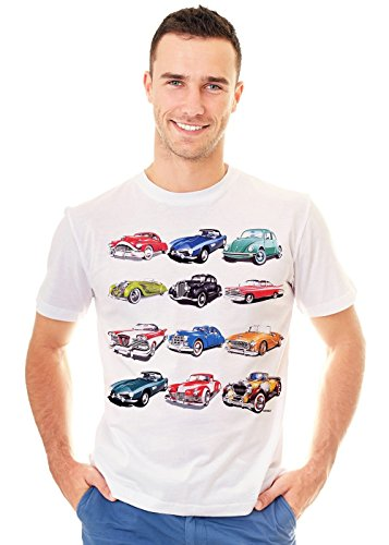 Retreez Retro Classic Vintage Cars Collection Graphic Printed Unisex Men/Boys / Women T-Shirt Tee - White - Large