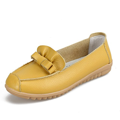 Shoes Boat On Kenavinca Women's Shoes Ballet Footwear 6 Woman Shoes Flats Loafers Genuine Leather Flats Slip Women Yellow Spring New ttqwBxApf
