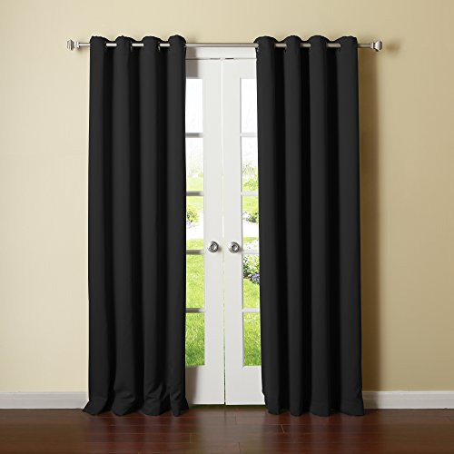 """Best Home Fashion Basic Thermal Insulated Blackout Curtains - Antique Bronze Grommet Top - Black - 52""""W x 96""""L – No tie back (1 Panel)"""