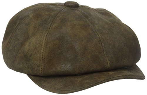 Leather Newsboy Hat (Stetson Men's Weathered Leather 8/4 Cap, Brown,)