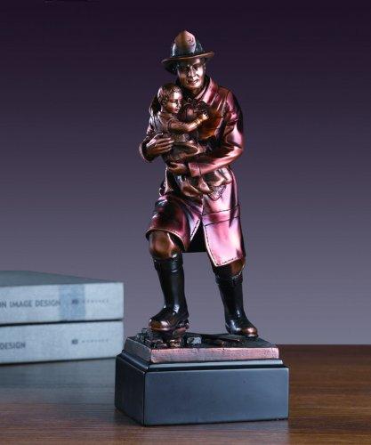 Fire Fighter Statue Bronze Plated Fireman ()