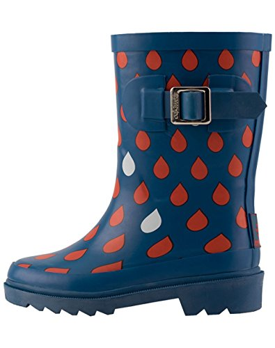 Oakiwear Kids Rubber Rain Boots, Navy & Red Raindrops, 5T US Toddler by Oakiwear