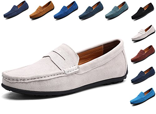 WaltZon Men's Loafers Suede Leat...