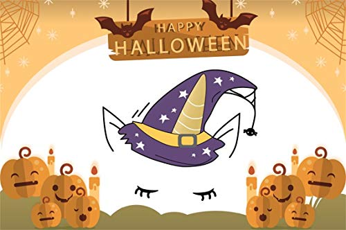 Leyiyi 10x8ft Cartoon Happy Halloween Backdrop Witch Hat Unicorn Eyelash Bats Flying Full Moon Spiderweb Pumpkin Lanterns Photography Background Scary Carnival Night Photo Studio Prop Vinyl Wallpaper ()