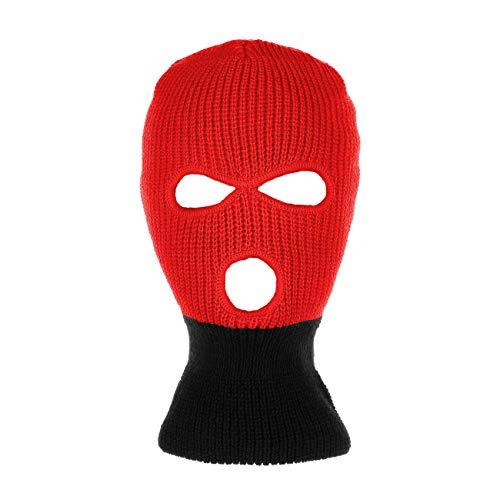 Black Ski - Knitted 3-Hole Full Face Cover Ski Mask (Red/Black)