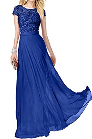 DressyMe Women's Chic Bridesmaid Dress Prom Gown Sleeves A-Line Round-Neck-18W-Royal Blue