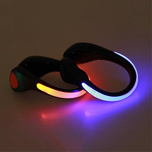 Hosyl LED Shoe Clip Lights Reflective Safety Night Running Gear for Runners Joggers Bikers Walkers Kids & Pets,Color Changing and Steady Color Flash Mode, Water Resistant and Screw Driver(Red/Blue) (Shoes Clip)