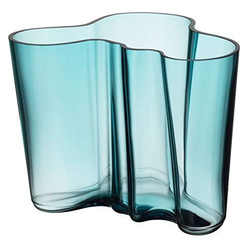 (Iittala Alvar Aalto Glass Vase 160 mm Sea Blue)