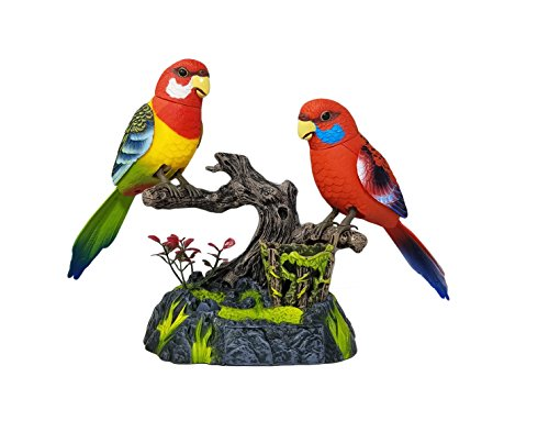 (Haktoys 2-in-1 Toy and Desk Accessory - Battery Operated Sound-Activated Singing & Chirping 2 Realistic Toy Birds on Tree Branch with Pen Holder and Drawer - Colors May Vary | Great Present for Kids)