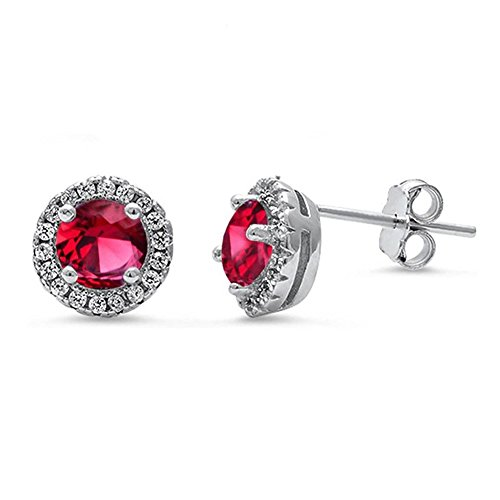 8mm Halo Wedding Stud Earrings Simulated Red Ruby Round CZ 925 Sterling Silver