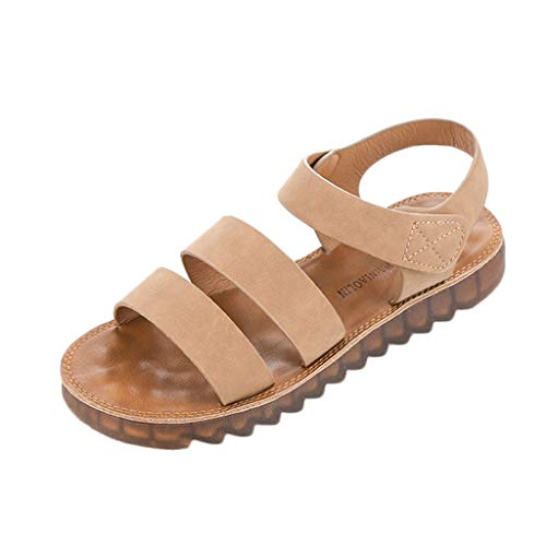 Pandaie Womens ... Sandals  Women Fashion Roma Soft Flat Sandals Pregnant Student Round Toe Shoes Brown