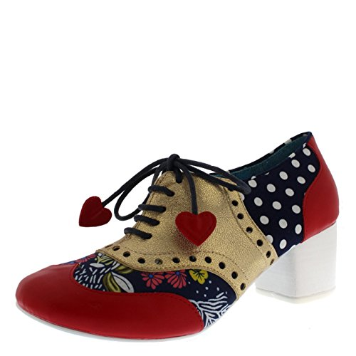 Irregular Choice Suede Heels - Irregular Choice Womens Clara Bow Oxfords Love Hearts Pretty Heels - Red/Gold - 8