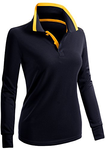 CLOVERY Women's Casual 2-Button Long Sleeve Polo Top Navy US S/Tag S