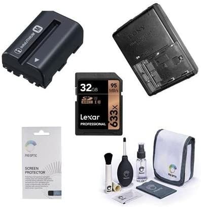 BCVM10 Quick Charger Consists of NP-FM500H Battery Lexar 32GB 633x SDHC Memory Card Sony ILCA-68 Accessory Bundle Cleaning Kit Sceeen Protector