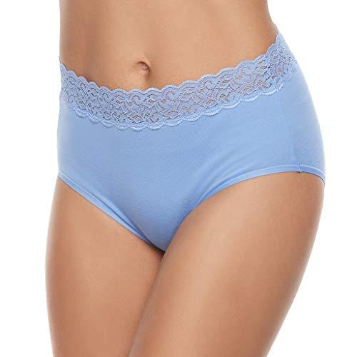 Vanity Fair Women's Flattering Lace Cotton Stretch Brief Panty 13396, Mockingbird, X-Large/8