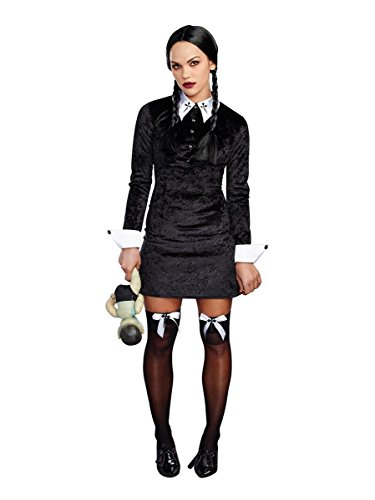 Dreamgirl Women's Friday Velvet Dress Halloween Costume, Black/White, Small