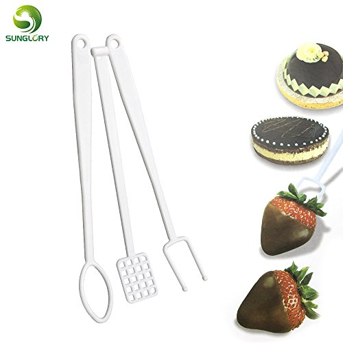 (1 Set Cookie Mold 3PCS Plastic Candy Dipping Tool Set Fondant Cake Decorating Tools Fondue Dessert DIY Caker Nuts Fruit Chocolate Fork)