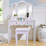 JAXPETY Vanity Table Set with Mirrors and Cushioned Stool Makeup Dressing Table (3 Tri Mirror 4 Drawer)
