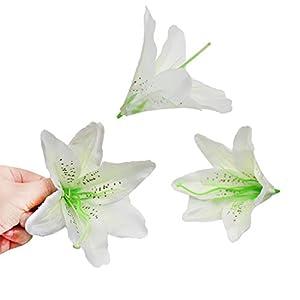 HZOnline Artificial Silk Flower Head Lilies, Tiger Lily Heads Decor Bridal Bouquet Wreath Headwear Clip DIY Accessories Wedding Home Party Garden Decoration (20pcs White) 3